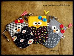 Crafts To Do, Arts And Crafts, Diy Crafts, Owl Sewing, Sewing Techniques, Sewing Projects, Sewing Ideas, Sewing Patterns, Coin Purse
