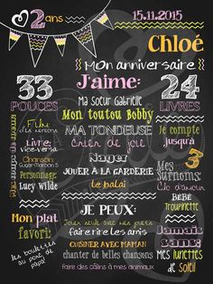 Affiche personnalisée anniversaire 2 à 5 ans Allez hop les fanions! (orange) | 28,00$ #chalkboard #lacraieco