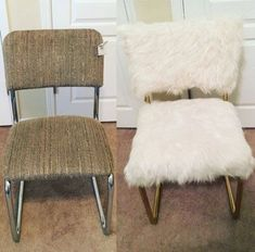 shabby 4 goodwill chair transformed into a chic white and gold faux fur chair - The world's most private search engine Diy Furniture Chair, Bedroom Furniture Makeover, Diy Chair, Chair Upholstery, Repurposed Furniture, Shabby Chic Furniture, Shabby Chic Decor, Goodwill Furniture, Furniture Ideas