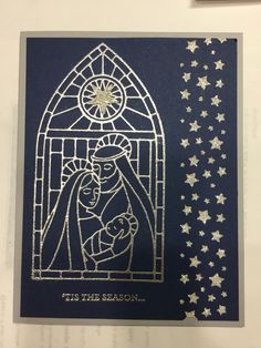 Gentle peace. All Stampin' Up!. Night of Navy,Smoky Slate, & Silver glimmer paper.