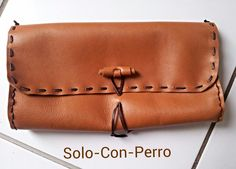 handmade leather clutch - one-of-a-kind