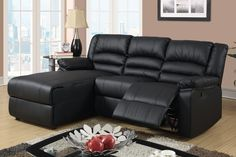 Small Black Leather Reclining Sectional Sofa Set Recliner Left Chaise