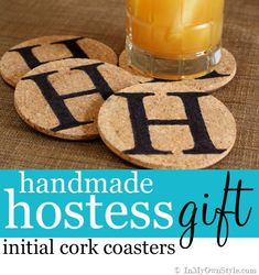 How to Make Drink Coasters to Give as a Hostess Gift |. Use vinyl stencil or stickers. Can also cover the cork, leaving the letter in colored (for kids it will be easier)