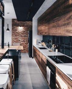 Modern Kitchen Interior 44 Modern Apartment Interior ideas that Grab Everyone's Attention Industrial Home Design, Industrial House, Industrial Interiors, Modern Kitchen Design, Interior Design Kitchen, Kitchen Industrial, Vintage Industrial, Interior Ideas, Modern Design