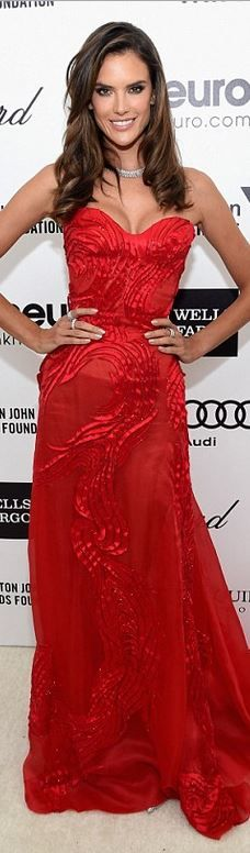 Alessandra Ambrosio's red strapless gown red carpet fashioni d