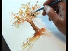 """Peindre l'Arbre en automne """"www.aquarelle.name"""""""