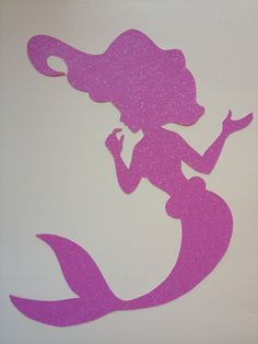 Disney inspired Princess Ariel from the Little Mermaid silhouette for a nursery or little girl's room, Paper Art. $12.00, via Etsy.