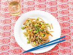 Sesame Soba Noodles recipe from Rachael Ray via Food Network. A little too much sauce. Kids liked it!