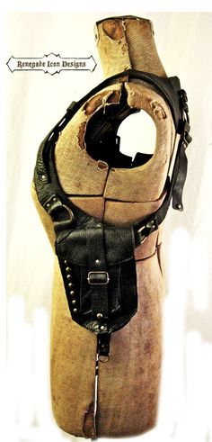 black leather, holster bag, burningman, mad max, future tribal, steampunk, distressed, Unisex: Renegade Icon Designs
