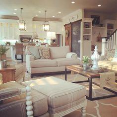 Modern Farmhouse Living Room Open Concept To Kitchen Interior Design By Janna Allbritton Of Yellow Prairie LLC Love The Chalk Wall