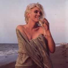 Marilyn Monroe Sipping Wine On The Beach...so beautiful!