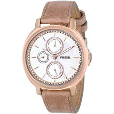 Fossil Women's ES3358 'Chelsey' Beige Leather Watch featuring polyvore, fashion, jewelry, watches, leather jewelry, rose watches, rose jewelry, fossil wrist watch and crown jewelry