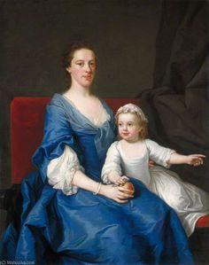 Ritratto di una donna e la bambina sconosciuta di Andrea Soldi (1703-1771, Italy)  #TuscanyAgriturismoGiratola
