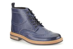 Clarks Darby Rise, Blue Leather, Mens Formal Boots - my wife wants me to have these! Mens Formal Boots, Casual Boots, Clarks, Me Too Shoes, Combat Boots, Casual Dresses, Mens Fashion, October 2014, Leather