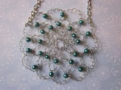 wire Crocheted jewelry | Crocheted Teal Beaded Wire Flower Necklace by ~PamGabriel on ...