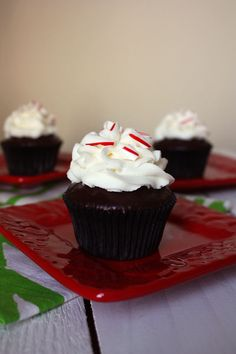 Chocolate Peppermint Cupcakes. A tender, sturdy chocolate cupcake with mint pieces topped with chocolate ganache, peppermint buttercream, and crushed candy canes.