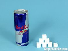 Red Bull Energy Drink   8.3 oz (250 ml) Can  Sugars, total:27g  Calories, total:108   Calories from sugar:108