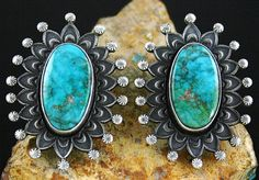 Calvin Martinez RARE Gem Grade Fox Turquoise Ingot Sunburst Earrings | eBay