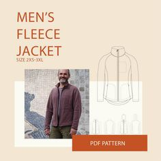 Fleece Sweater Jacket PDF sewing pattern for men, fleece Jacket sewing pattern Hoodie jacket sewing pattern Men's sweater jacket PDF Mens Fleece Jacket, Fleece Sweater, Sweater Jacket, Men Sweater, Coat Pattern Sewing, Pdf Sewing Patterns, Sewing Ideas, Sewing Designs, Vogue Patterns