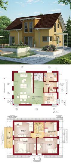 Einfamilienhaus Architektur klassisch mit Satteldach & Zwerchgiebel, Putz Fassade gelb - Haus bauen Grundriss Fertighaus Evolution 122 V7 Bien Zenker Hausbau Ideen - HausbauDirekt.de
