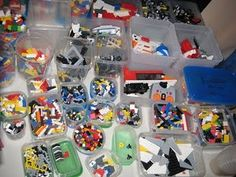 Lego sorted into containers. Lego Sorting, Sensory Processing Disorder, Raising Chickens, Container, Paper Crafts, Organization, Quilts, Clutter, Diy