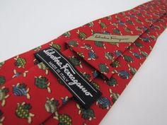 SALVATORE FERRAGAMO Tie Italy 100% Red Turtles with Cool Shells  EXCELLENT #SalvatoreFerragamo #Tie