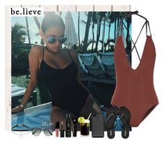 """""""""""BE.LIEVE"""" (Madison)"""" by miriamofficial5 ❤ liked on Polyvore featuring Solid & Striped, Old Navy, Ray-Ban, Soleil Toujours and Smashbox"""