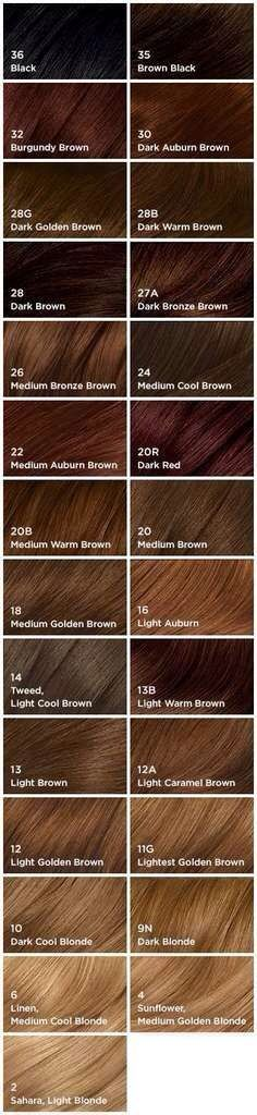 Hair dye shades