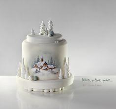 A Christmas cake. With a great love to the TortDeco. Camo Wedding Cakes, White Wedding Cakes, Shoe Cakes, Cupcake Cakes, Purse Cakes, Cupcakes, Dragon Cakes, Cake Wrecks, Painted Cakes