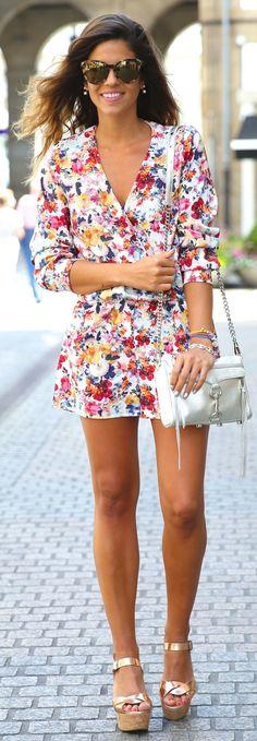 It Shoes Multi Bloomy V-neck Romper by TrendyTaste