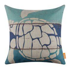"18"" Retro Blue Ocean Sea Turtle Beach Linen Cotton Cushion Cover Pillow Case"