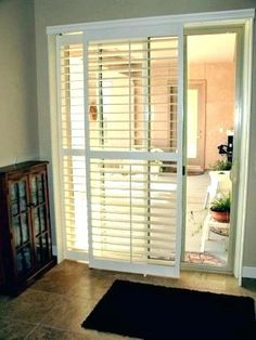 """""""Open"""" Bypass shutters allow full view even when panels are stacked over each other. More versatile than standard """"Closed"""" Bypass. Sliding Door Coverings, Glass Door Coverings, Patio Door Coverings, Sliding Door Window Treatments, Window Coverings, Sliding Glass Door Shutters, Patio Door Shutters, Sliding Patio Doors, Home Upgrades"""