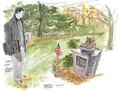 Seattle Times artist Gabriel Campanario sketches Edmonds CC alumnus Timm Lovitt at the college Veterans Monument