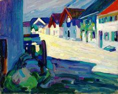 Vasilij Kandinskij - Murnau – Strasse, 1908. Oil on canvasboard, 13 x 16 1/8 in. (33 x 41 cm.).