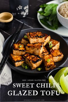 Sweet Chili Glazed Tofu | Spoonful of Plants | This sweet chili glazed tofu recipe is the perfect combination of salty and sweet that will spark a brand new love affair with soy. It's super easy to make, requires only 7 ingredients, and can be paired with rice, noodles or any of your favorite vegetables. This vegan dinner idea is the perfect meatless meal. Tofu Recipes, Whole Food Recipes, Vegetarian Recipes, Extra Firm Tofu, Low Sodium Soy Sauce, Sweet Chili, Best Dinner Recipes, Rice Noodles, Fresh Lime Juice