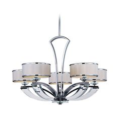 Maxim Lighting Modern Chandelier with White Shades in Polished Chrome Finish | 39825BCWTPC | Destination Lighting