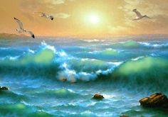 Golden Sunset Spachtel Ölgemälde auf Leinwand von von spirosart