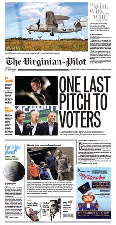 The Virginian-Pilot's front page for Tuesday, Nov. 5, 2013.
