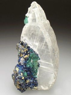 Selenite with Azurite and Malachite