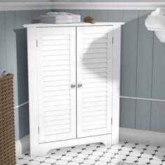 Three Posts Bolanos 26 W x 31 H Cabinet Bathroom Standing Cabinet, Free Standing Cabinets, Bathroom Vanity Base, Bathroom Cabinets, Bathroom Furniture, Small Bathroom, Furniture Decor, Furniture Storage, Vanity Set