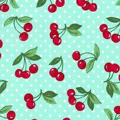 Michael Miller House Designer - Retro Florals - Cherry Dot in Mint