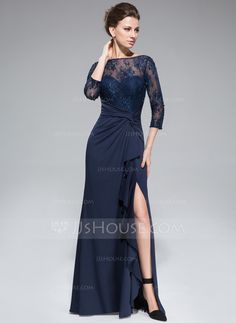 Empire Scoop Neck Floor-Length Beading Sequins Split Front Cascading Ruffles Zipper Up Sleeves 3/4 Sleeves No 2014 Dark Navy Spring Fall General Plus Lace Jersey Mother of the Bride Dress