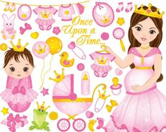 Vector set for baby girl shower. Set includes beautiful pregnant woman and cute baby girl dressed as princesses. Baby Girl Clipart, Baby Shower Clipart, Cute Baby Girl, Cute Babies, Clipart Chica, Belle Epoque, Dibujos Baby Shower, Scrapbook Bebe, Pixie