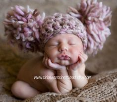 Baby Girl Hat, Newborn Baby Girl Pom Pom Hat in Pink Brown and Cream, Great for Photo Prop. $35.00, via Etsy.