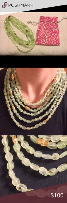 RARE Lilly Pulitzer precious stone necklace This necklace came out around jubilee, if I remember correctly. It's a beautiful 5 strand necklace with green precious stones and gold beads. The clasp is a very substantial magnetic link. I love this necklace but it's a little heavy on my neck after I injured myself. Comes with original jewelry pouch (as pictured). Lilly Pulitzer Jewelry Necklaces