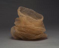 Leslie Pontz: Honeyed Folds (2012), monofilament/wood/paint/jute, 13 x 10.5 x 15in