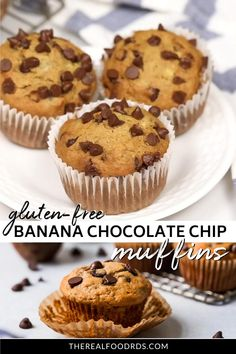 When life blesses you with overripe bananas, make these simple yet scrumptious Gluten-Free Banana Chocolate Chip Muffins. Freezer-friendly and meal prep-able! Gluten Free Banana, Gluten Free Chocolate, Gluten Free Desserts, Gluten Free Recipes Kid Friendly, Gluten Free Chips, Gluten Free Recipes For Kids, Banana Chocolate Chip Muffins, Baking Soda Uses, Pain