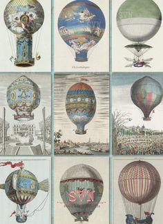 AIR Hot Ballons  1 Printable ATC Cards Digital por suvenireprints