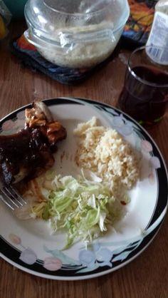 Ribs, salad and rice