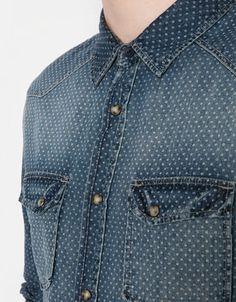 Stonewashed polka dot denim shirt